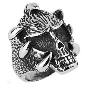Herren-Biker-Ring-Rocker-Gothic-Totenkopf-Skull-mit-Klaue-Edelstahl-Massiv-Claw
