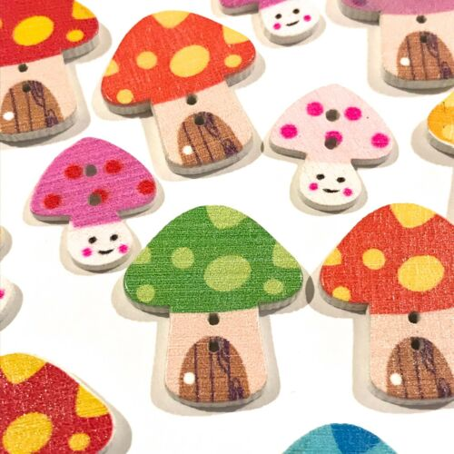 20 Fun Craft Toadstools Wooden Buttons Scrapbooking Cardmaking Embellishments