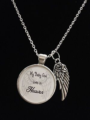 Guardian Angel Baby Girl Daughter Heaven Wing Child Passed Quote Necklace |  eBay