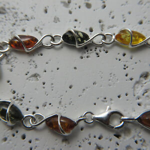 Natural-Multi-Color-BALTIC-AMBER-Bracelet-925-STERLING-SILVER-Poland-0067