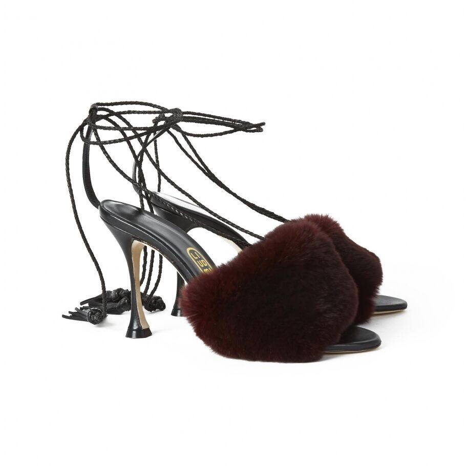 - Scarpe Pelliccia in Pelle Nappa Scarpe - Col Tacco Sandali d291fb