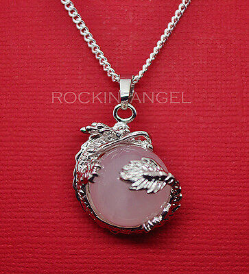 925 Silver Necklace Pendant Natural Rose Quartz Dragon Ball Reiki Ladies Gift