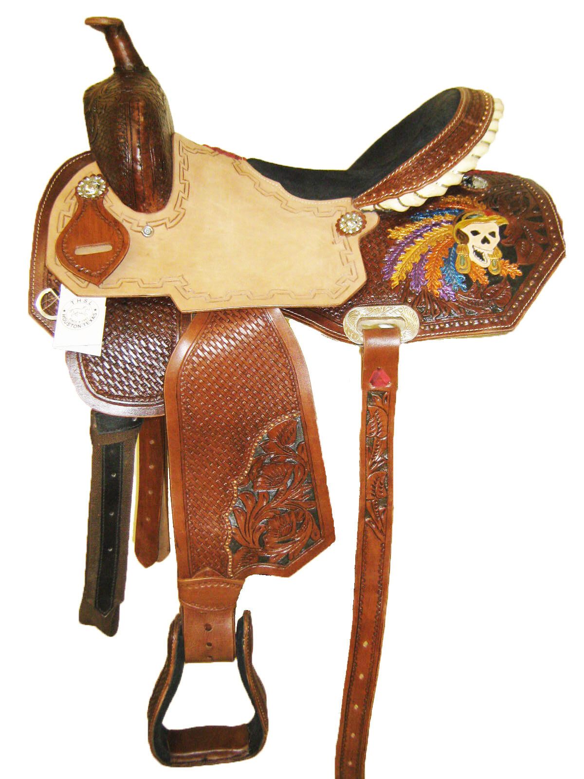 THSL  WESTERN BARREL SADDLE NAT BROWN PAINTNG RAWHIDE LACING 15  (10102)