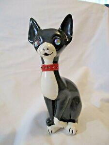 Vintage Roselane California Pottery Cat Figurine Rhinestone Sparkler Eyes