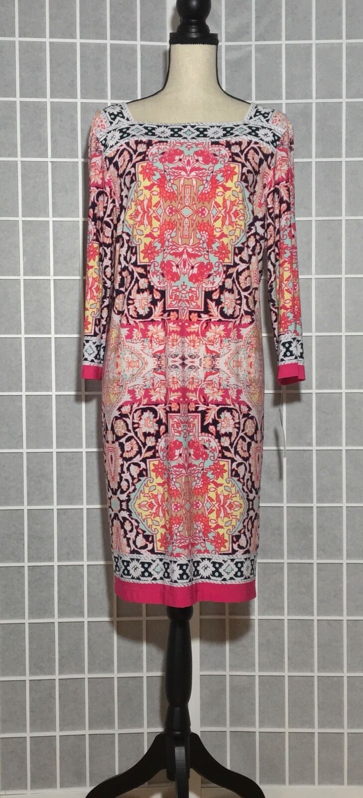 NWT Sandra Darren Paisley Square Neck All Over Print Dress Rosa Multi Sz16