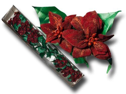 Deko Weihnachtsstern Strauß 12 Stück Kunstblumen 12 Zweige in bordeaux