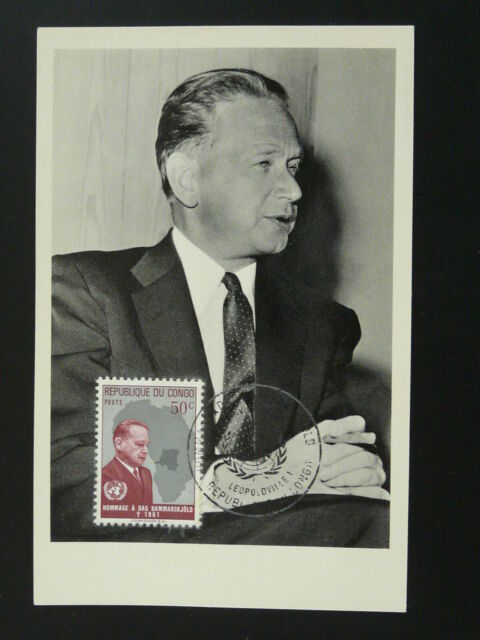 Peace nobel prize Dag Hammarskjold (Sweden) UNO maximum card 1962 Congo 86176