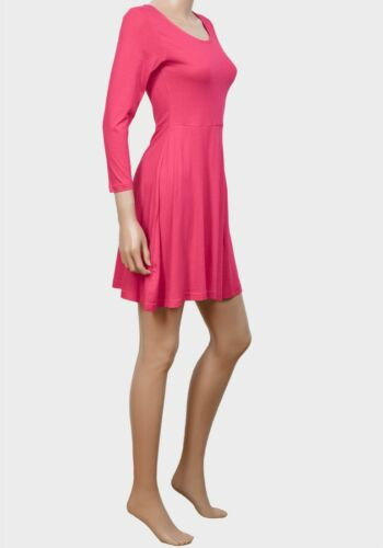 womens lightweight pink stretchy 3//4 length sleeve knee length skater dress