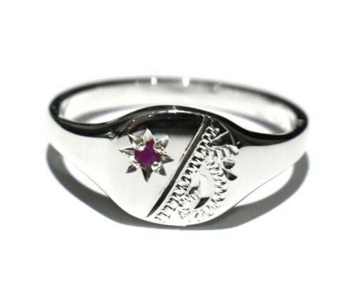 Details about  /Ladies Sterling Silver Signet Ring Cushion Real Ruby British Handmade Sizes K-R