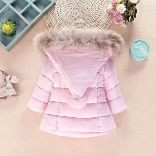Winter Boys Girls Jacket Kids Padded Puffer Fur Collar Hooded Quilted Warm Coats
