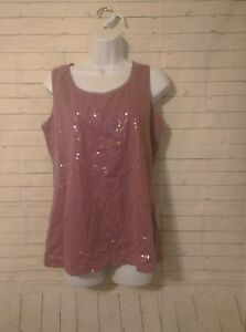 Women-039-s-Coldwater-Creek-Purple-Sequins-Top-Size-M-10-12