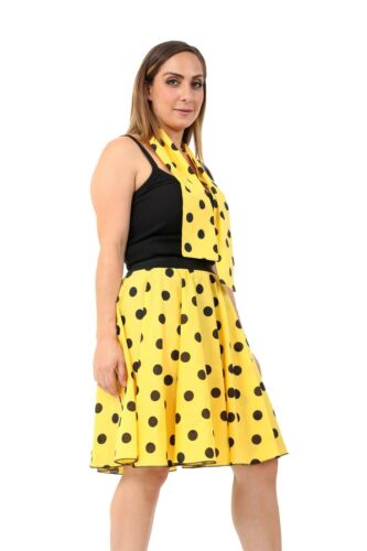 "50/'s//60/'s Length 26/"" New Ladies Women Polka Dot Rock N Roll Poodle Skirt/&Scarf"