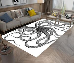 Details About Children S Room Rug Carpet Livingroom Non Slip Area Rugs Dancing Black Octopus