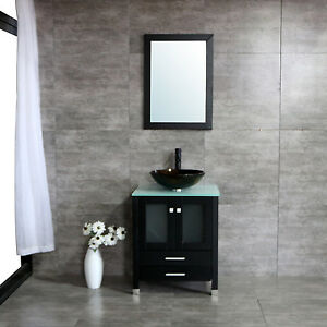 25 Vessel Sink Wood Bathroom Cabinet Wmirror And Temepered Glass