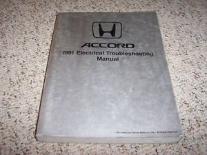 1991 Honda Accord Electrical Wiring Diagram Manual SE LX ...
