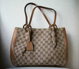fddc66453 Image is loading GUCCI-GG-MONOGRAM-CANVAS-AND-LEATHER-TOTE-BAG
