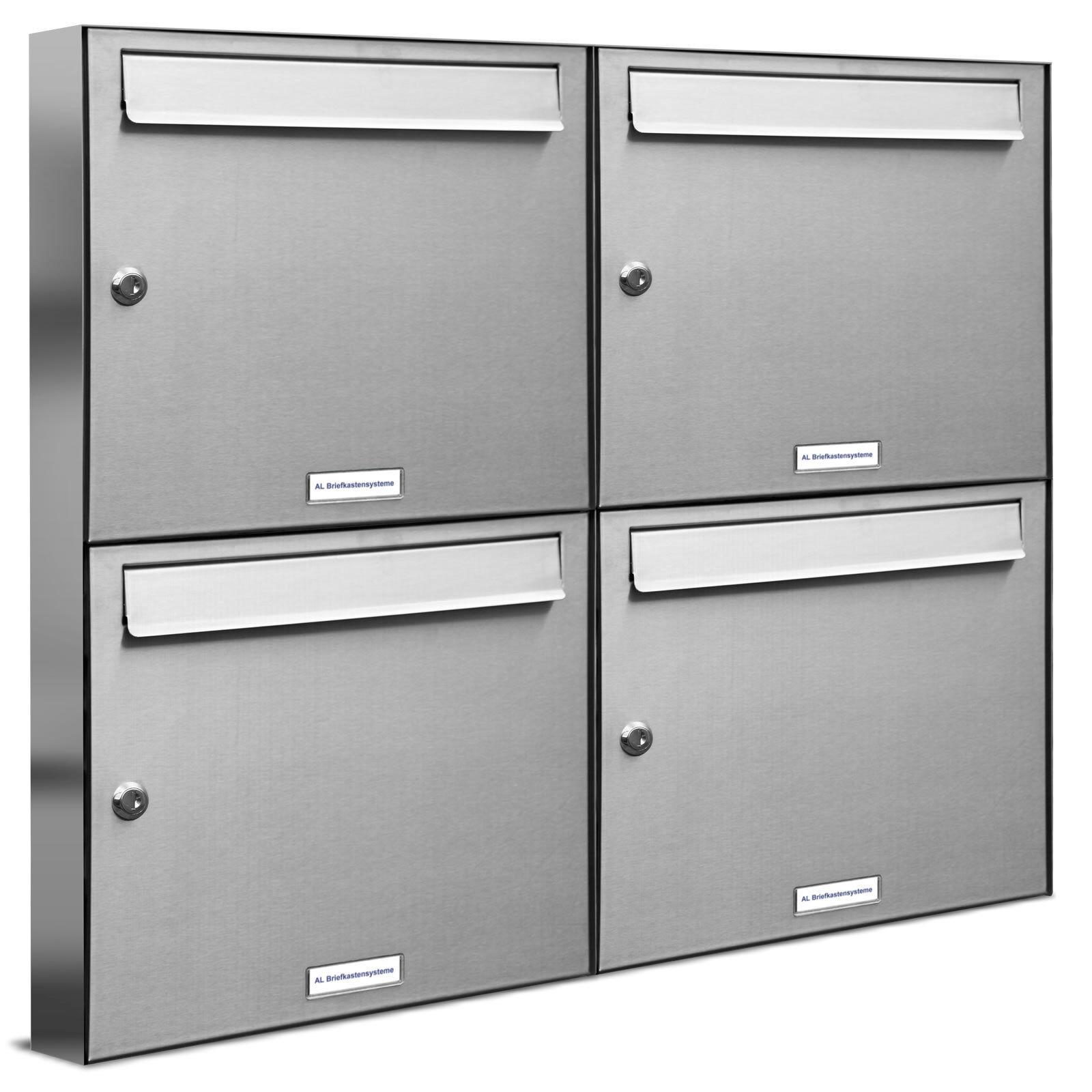 4 er Premium V2A Edelstahl Wand Briefkasten Anlage 2x2 Postkasten A4 Fach