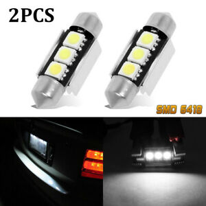 2x-White-Error-Free-Canbus-LED-License-Plate-Light-Bulbs-Festoon-6418-C5W-36MM