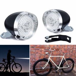 3-LED-Fanale-Faro-Luce-Anteriore-Bici-Epoca-Lampada-Vintage-con-staffa-Ciclismo