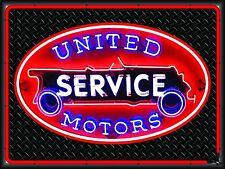 UNITED MOTORS GAS/SERVICE STATION NEON STYLE BANNER SIGN GARAGE ART 4' X 3'