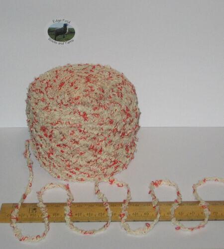 100g Ecru Cream with Red Boucle British Breed Chunky knitting Wool yarn EFW846