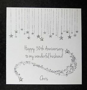 personalised handmade on our 30th pearl wedding anniversary card