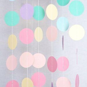 unicorn rainbow pastel circle garland party decoration paper dots