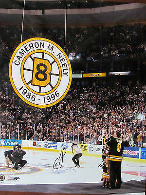 NHL BOSTON BRUINS CAM NEELY 8  HAND-SIGNED 16x20 JERSEY RETIREMENT COA