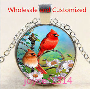 Snow Northern Cardinal Cabochon Glass Tibet Silver Chain Pendant Necklace