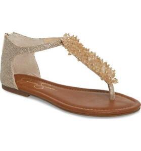 Jessica-Simpson-Women-039-s-Kenton-Sandal-Gold-Sparkle-Mesh-Pearl-Thong-Flat
