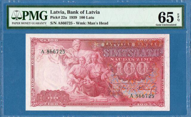 Latvia, 100 Latu, 1939, Superb Gem UNC-PMG65EPQ, P22a