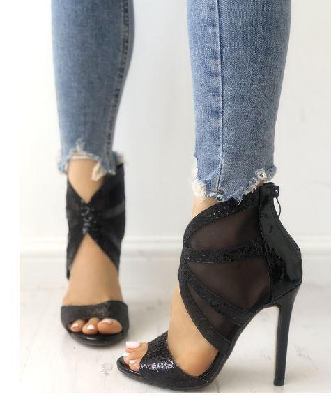 Sandale stiletto tronchetto nero lucido 12 cm  simil pelle eleganti 1361