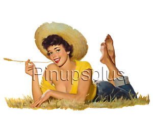 Pinup Girl Decal Waterslide Sticker Spicy Redhead with Golden Flower  s258