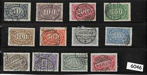 #6046    Full Stamp set / Large Numeral / Germany  / 1922 - 1923   Sc198 - Sc209