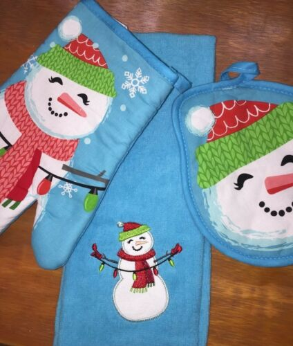 Christmas Snowman  PH0019 3 Piece Kitchen Two Potholder and One Hand Towel Set