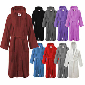 6ee66d6fe6 Image is loading Ladies-Mens-Womens-100-Cotton-Hooded-Bathrobe-Terry-