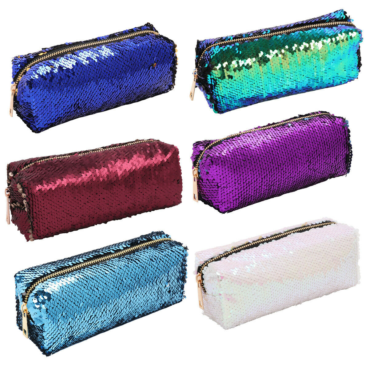 Reversible Double Color Cosmetic Bag Mermaid Sequin Handbags Pencil_Pouch Case