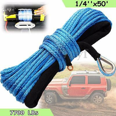7700lbs Synthetic Winch Rope 6mmx15mSK78 Hook Aluminium Fairlead Cable 4x4