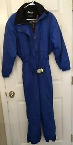 Women-039-s-Vintage-90-039-s-Nordica-Classics-Blue-Snowsuit-8P-with-Embroidered-Flowers