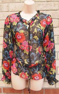 PAPAYA-BLACK-RED-PINK-LIME-FLORAL-FRILL-NECK-LONG-SLEEVE-BLOUSE-TOP-T-SHIRT-8-S