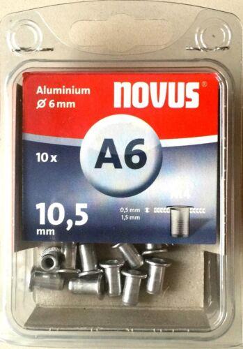 10,5 mm M4 Ø 6 mm Aluminium 10 Stück 045-0041 Novus Blindnietmutter 'A6' L
