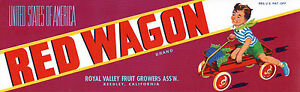 Original-RED-WAGON-Little-Boy-Radio-Flyer-like-Grape-Label-NOT-A-COPY