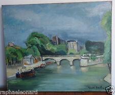 Superbe Ancien Tableau Huile sur Toile. Marcel BASLER. Vintage Oil Painting.