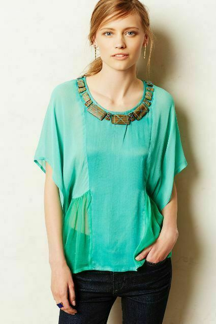 Anthropologie Palau Tee by Conditions Apply Grün Größe S jeweled turquoise