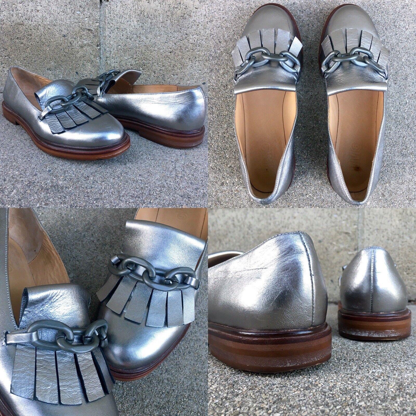 39 IT 9 US MM6 Maison Margiela rencontré argent Chain Link Rnd Toe Kiltie chaussures Oxford