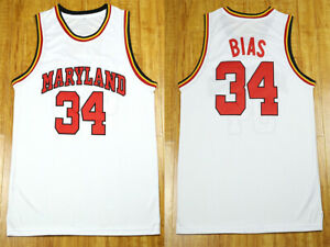 Len Bias #34 Maryland University college Basketball Jersey white ...
