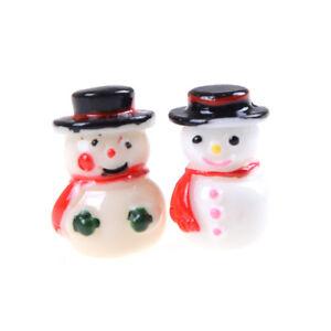 2x-1-12-Snowman-Button-Green-Gloves-Christmas-Dollhouse-Home-Miniature-Deco-BX