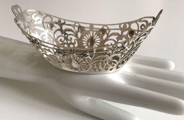 Wunderschöne Silberschale 800 Jugendstil Blüten Pfau Gepunzt Gemarkt Top Zustand