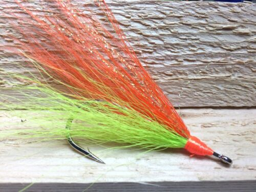 5//0 Saltwater Buck Tail Fly Fishing Flies Teaser tambour rouge TOG Sea Bass Fluke 5pc