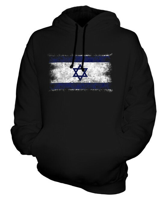 ISRAEL DISTRESSED FLAG UNISEX HOODIE TOP YISRAEL ISRAELI ISRA'IL  FOOTBALL